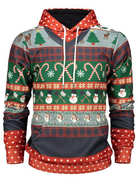 Christmas Tree and Snowflake Print Pullover Hoodie - RED XL