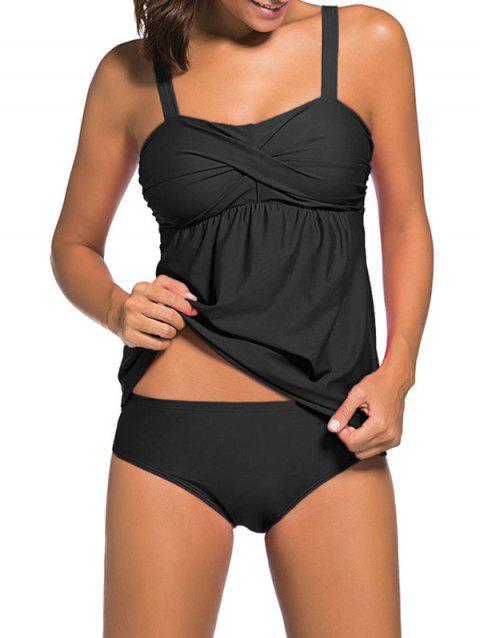 Push Up Twist Tankini Set - BLACK XL