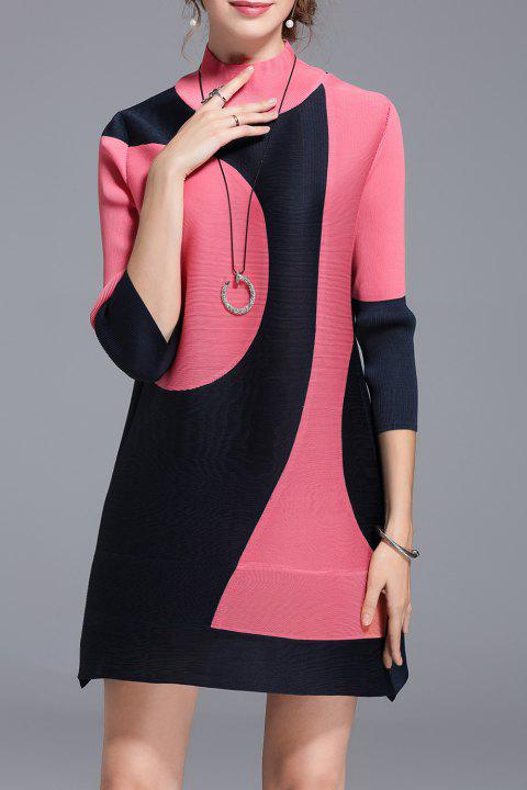 Mini High Neck Colorblock Dress - WATERMELON RED ONE SIZE