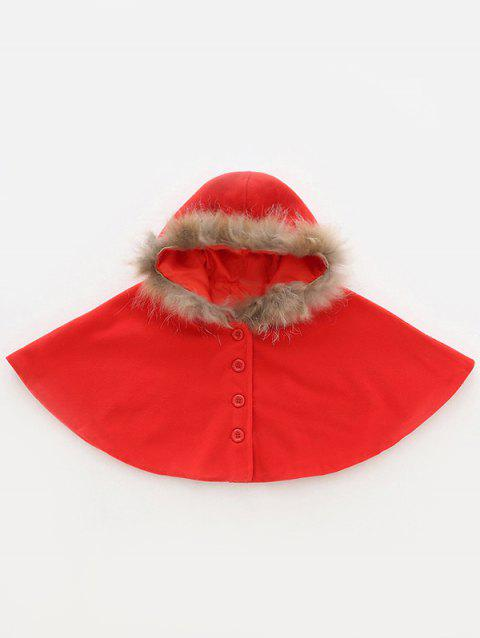 Manteau cape d'enfants à capuche unique boutonnage - Rouge 130