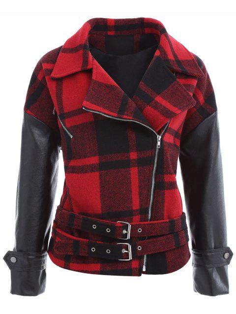 2018 Plaid PU Leather Panel Buckled Jacket In RED ONE SIZE ...