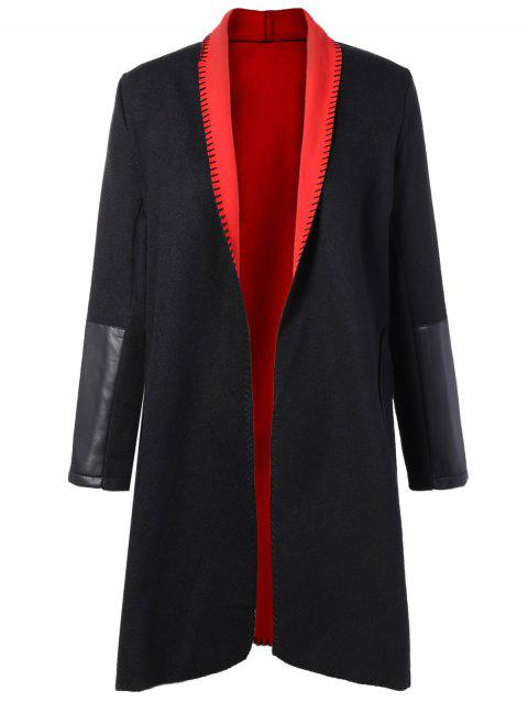 Plus Size PU Leather Splicing Double Pocket Coat - RED 2XL