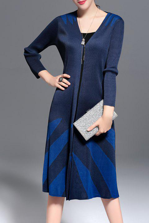 Pleated Color Block Long Cardigan - PURPLISH BLUE ONE SIZE