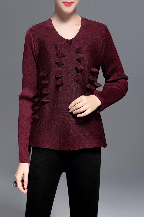 Pleated 3D Petal Panel Cardigan - WINE RED ONE SIZE