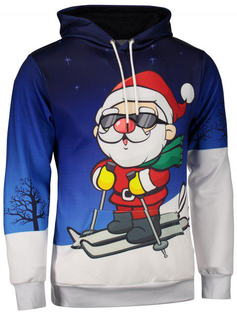 Kangaroo Pocket Santa Claus Print Christmas Hoodie - BLUE XL