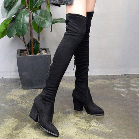 Flock Pointed Toe Zip Thigh Boots - BLACK 37