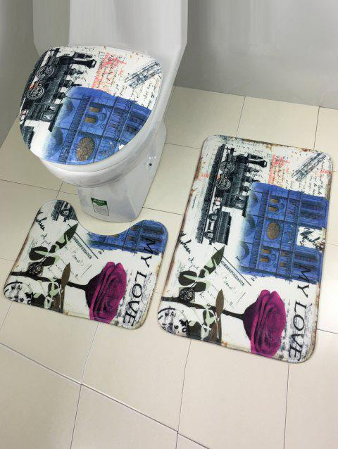 Ensemble 3Pcs Style de l'Europe anti-glissement couverture de toilette moquette - multicolore