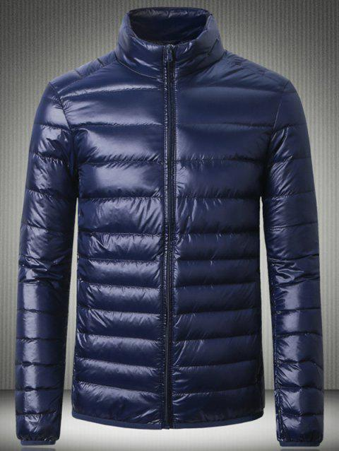 Stand Collar Slimming Zip Up Down Jacket - CADETBLUE S