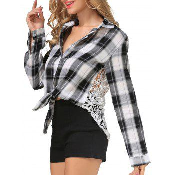 Lace Openwork Plaid Shirt