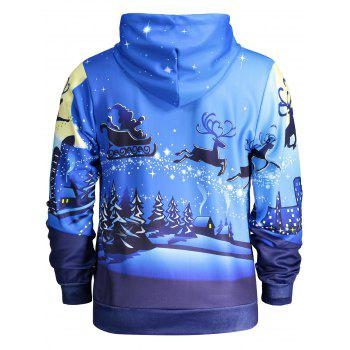 Pocket Front Long Sleeve Christmas Hoodie - BLUE XL