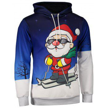 Buy Kangaroo Pocket Santa Claus Print Christmas Hoodie BLUE