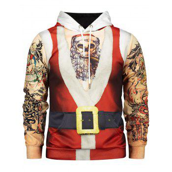 Father Christmas Costume Tattoo Pattern Long Sleeve Hoodie