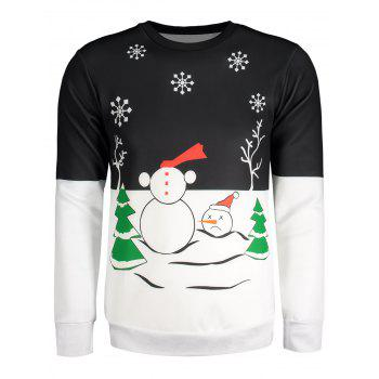 Snowman Snowflake Tree Printed Color Block Long Sleeve Sweatshirt