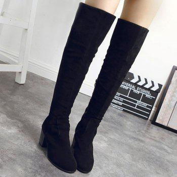 Zipper Suede Chunky Heel Thigh Boots