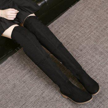 Lace Up Flat Heel Thigh Boots