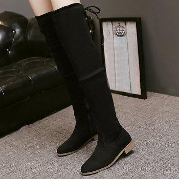 Lace Up Flat Heel Thigh Boots - BLACK 37