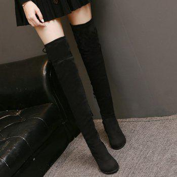Zip Tie Up Suede Thigh Boots