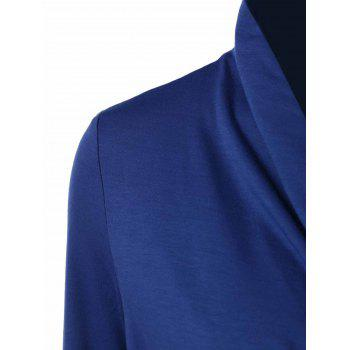Shawl collar button decorated t shirt blue m in long for Shawl collar t shirt