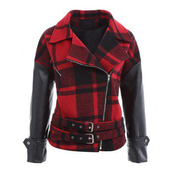 Plaid PU Leather Panel Buckled Jacket