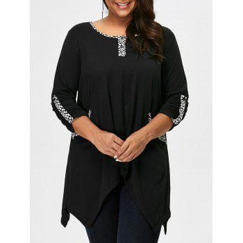 Plus Size Printed Trim Asymmetrical T-Shirt