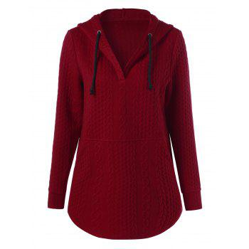 Pullover Drawstring Cable Knit Hoodie