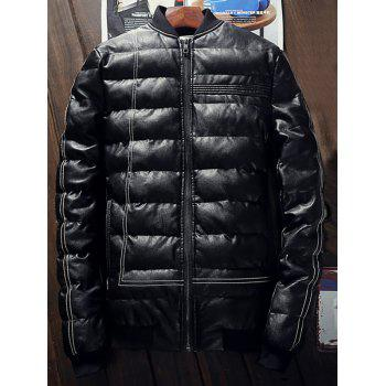 Faux Leather Rib Insert Zippered Padded Jacket