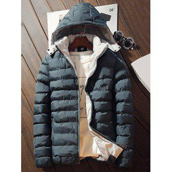 Buy Hooded Pocket Zip Padded Jacket DEEP GREEN