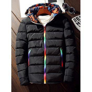 Buy Hooded Pocket Rainbow Zipper Padded Jacket BLACK