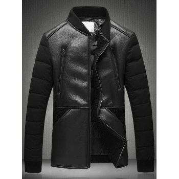 PU Leather Panel Stand Collar Down Jacket