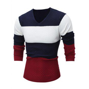 V Neck Color Block Textured Sweater