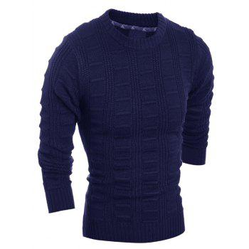 Slim Fit Crew Neck Patterned Knitted Sweater