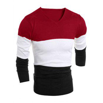 V Neck Color Block Star Grapnic Sweater