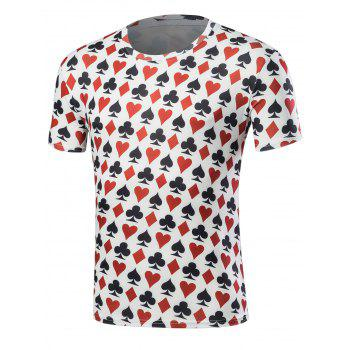 Buy Short Sleeve Poker Print T-Shirt COLORMIX