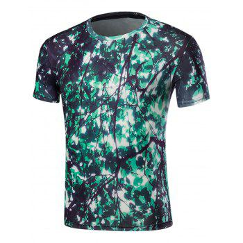 3D Leaves Print Short Sleeve T-Shirt