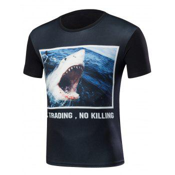 3D Shark Print Round Neck T-Shirt