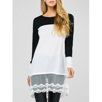 Color Block Lace Insert Sheer Long T-Shirt