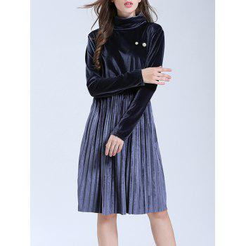 Turtleneck Velvet Pleated A Line Dress