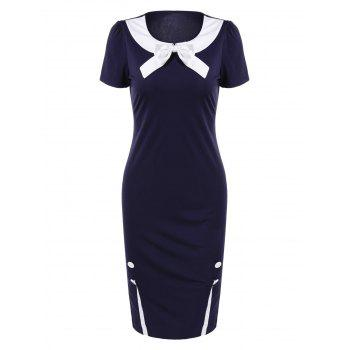 Bowknot Color Block Vintage Bodycon Dress