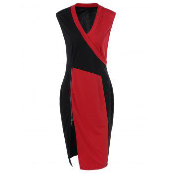 Plus Size Color Block Surplice Bodycon Dress
