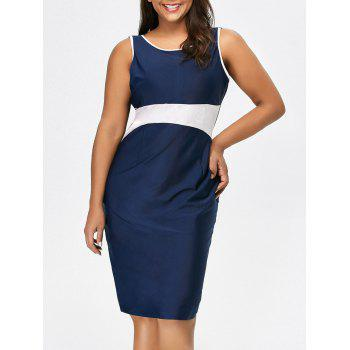 Sleeveless Sheath Color Block Dress