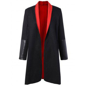 Plus Size PU Leather Splicing Double Pocket Coat