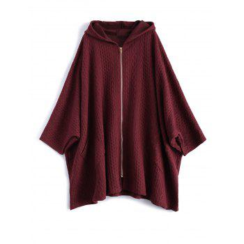 Dolman Sleeve Padded Hooded Coat