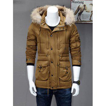 Drawstring Hooded Quilted Down Coat