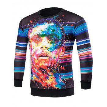 Crew Neck Striped Abstract Print Graphic Sweatshirts
