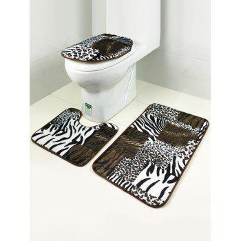 Bathroom Leopard Design Antislip 3Pcs Toilet Lid Cover Carpet Set