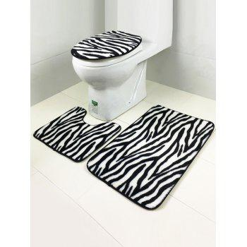 3Pcs Stripe Lid Toilet Cover +Pedestal Rug +Floor Carpet Set