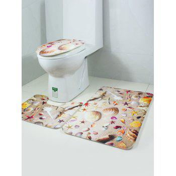 Sea Starfish Coral Fleece Antislip 3Pcs Toilet Lid Floor Carpet Set