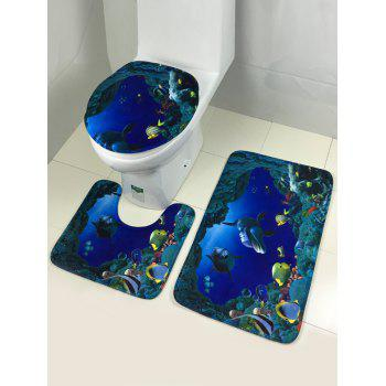 Sea World Fleece Fabric Antislip 3Pcs Toilet Lid Floor Carpet Set