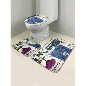 3Pcs Europe Style Antislip Bathroom Toilet Lid Cover Carpet Set -  COLORMIX