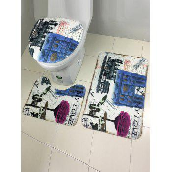 3Pcs Europe Style Antislip Bathroom Toilet Lid Cover Carpet Set - COLORMIX COLORMIX